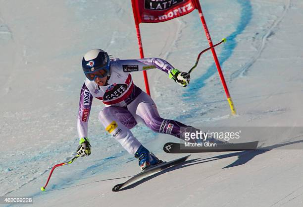 Julia Ford of The USA competing in the Audi FIS Alpine Skiing World Cup women's downhill race on January 24 2015 in St Moritz Switzerland