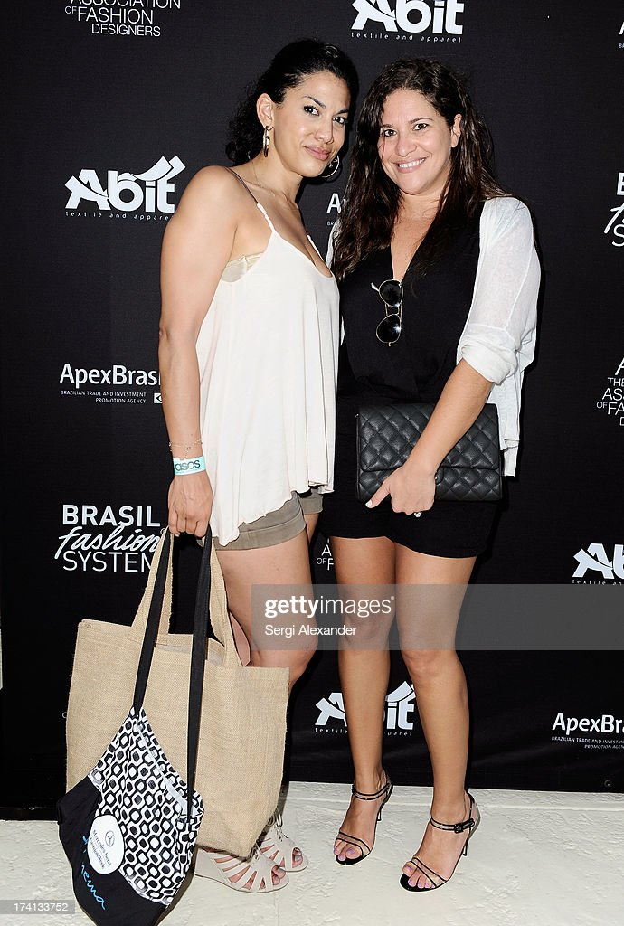 Julia Ford-Carther (L) and Vanessa Leitman attend the ABEST & ABIT Brazilian Swimwear Designers Cocktail Party during Mercedes-Benz Fashion Week Swim 2014 at The Raleigh on July 20, 2013 in Miami, Florida.