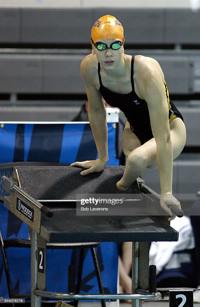 Julia Gaffney gets herself up on top of the starting block as she warms up for the Women's 50 Meter Freestyle prelims at the U.S. Paralympic Trials at Mecklenburg County Aquatic Center on July 1, 2016 in Charlotte, North Carolina.