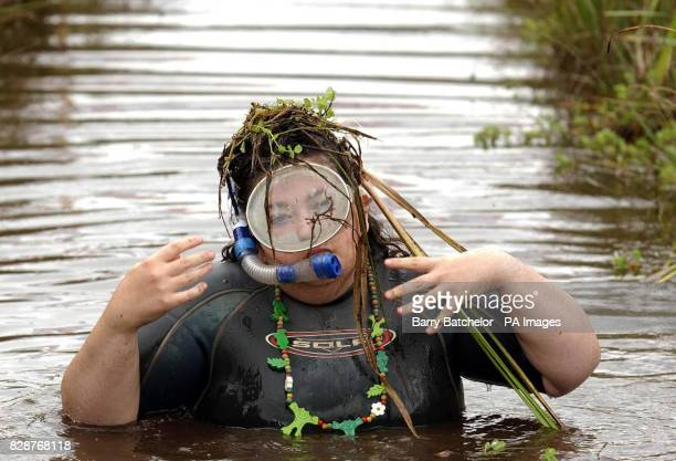 Julia Galvin from Listowel County Kerry Ireland after competing in the Ben Jerry's World Bog Snorkelling Champioships 2003 at the UK's smallest town...