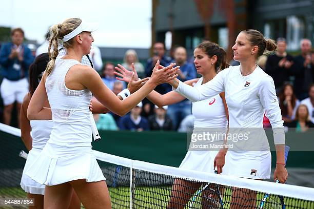 Julia georges of Germany and Karolina Pliskova of The Czech Republic celebrates victory during the Ladies doubles third round match against Heather...