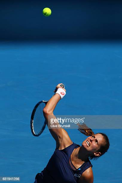 Julia Georges of Germany serves in her second round match against Jelena Jankovic of Serbia on day three of the 2017 Australian Open at Melbourne...