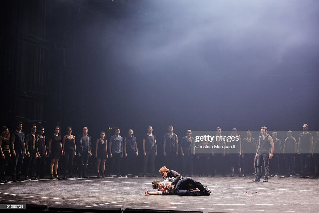 Julia Giebel and Tansel Akzeybek perform on stage during rehearsals for 'West Side Story' at Komische Oper Berlin on November 21, 2013 in Berlin, Germany. The debut performance is scheduled for November 24, 2013 with stage direction provided by Barrie Kosky and Otto Pichler.