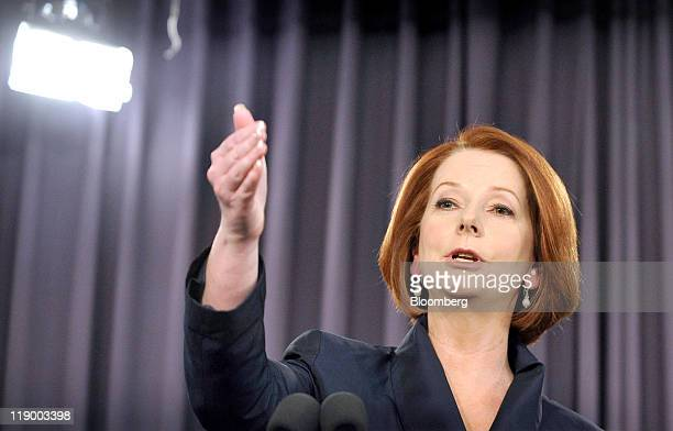 Julia Gillard Australia's prime minister gestures during a speech at the National Press Club in Canberra Australia on Thursday July 14 2011 Gillard...