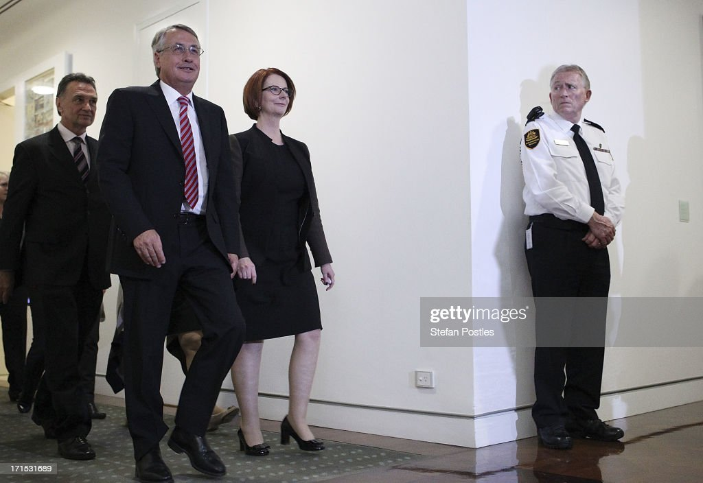 <a gi-track='captionPersonalityLinkClicked' href=/galleries/search?phrase=Julia+Gillard&family=editorial&specificpeople=787281 ng-click='$event.stopPropagation()'>Julia Gillard</a> leaves the caucus room after the leadership ballot at Parliament House on June 26, 2013 in Canberra, Australia. In a snap leadership ballot held tonight Kevin Rudd was re-elected to leader of the ALP, a role he held from 2006 to 2010, before he was dumped by the party. <a gi-track='captionPersonalityLinkClicked' href=/galleries/search?phrase=Julia+Gillard&family=editorial&specificpeople=787281 ng-click='$event.stopPropagation()'>Julia Gillard</a> has announced before the ballot that she would leave politics is she lost the ballot.