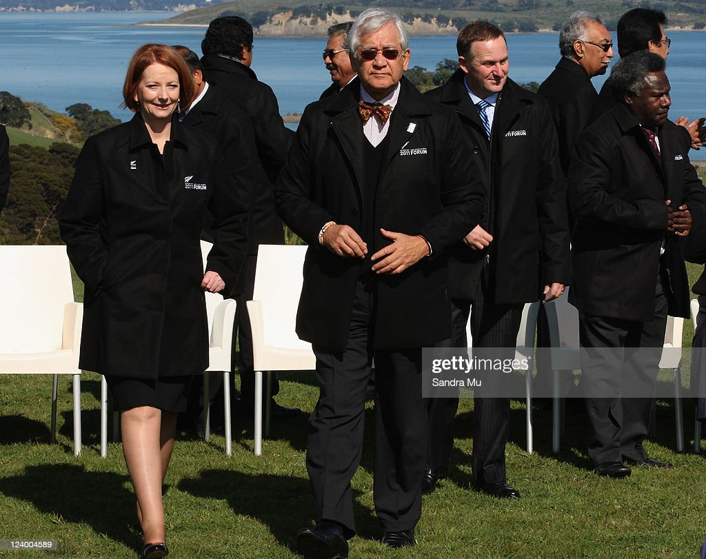 <a gi-track='captionPersonalityLinkClicked' href=/galleries/search?phrase=Julia+Gillard&family=editorial&specificpeople=787281 ng-click='$event.stopPropagation()'>Julia Gillard</a> Prime Minister of Australia and Tuiloma Neroni Slade Secretary General (R) are seen after the official photo at Cable Bay on September 8, 2011 in Auckland, New Zealand. The annual gathering of leaders of the pacific nations has attracted heavyweight list of guests this year including United Nations Secretary General Ban Ki-moon, European Commission President Jose Manuel Barroso, the French Foreign Minister and the US Deputy Secretary of State. The forum conclusion coincides with the Opening Ceremony of the Rugby World Cup.