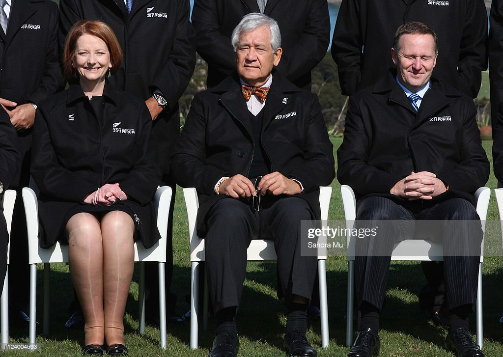 <a gi-track='captionPersonalityLinkClicked' href=/galleries/search?phrase=Julia+Gillard&family=editorial&specificpeople=787281 ng-click='$event.stopPropagation()'>Julia Gillard</a> Prime Minister of Australia (L), Tuiloma Neroni Slade Secretary General and <a gi-track='captionPersonalityLinkClicked' href=/galleries/search?phrase=John+Key&family=editorial&specificpeople=2246670 ng-click='$event.stopPropagation()'>John Key</a> New Zealand Prime Minister (R) pose for the official photo at Cable Bay on September 8, 2011 in Auckland, New Zealand. The annual gathering of leaders of the pacific nations has attracted heavyweight list of guests this year including United Nations Secretary General Ban Ki-moon, European Commission President Jose Manuel Barroso, the French Foreign Minister and the US Deputy Secretary of State. The forum conclusion coincides with the Opening Ceremony of the Rugby World Cup.