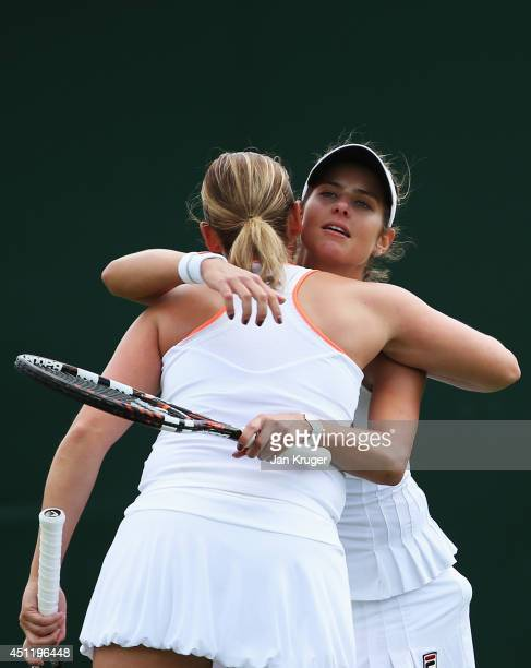 Julia Goerges and AnnaLena Groenefeld of Germany celebrate during their Ladies Doubles first round match against Vesna Dolonc of Serbia and Daniela...
