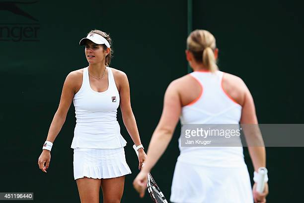 Julia Goerges and AnnaLena Groenefeld of Germany during their Ladies Doubles first round match against Vesna Dolonc of Serbia and Daniela Seguel of...