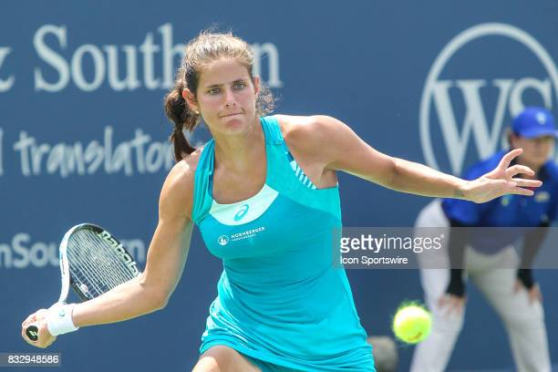 Julia Goerges hits a forehand during the Western Southern Open at the Lindner Family Tennis Center in Mason Ohio on August 15 2017