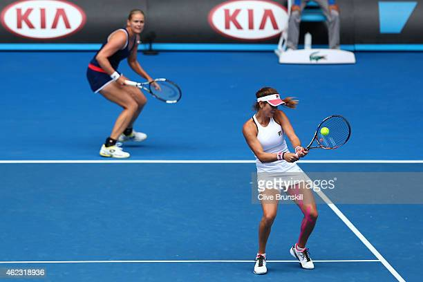 Julia Goerges of Germany and AnnaLena Groenefeld of Germany in action in their quarterfinal doubles match against Kiki Bertens of the Netherlands and...