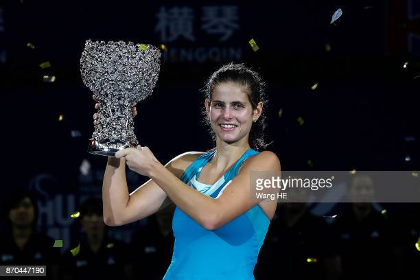 Julia Goerges of Germany celebrate with the trophy following her victory during the Ladies singles final against Coco Vandeweghe of USA on 6 day WTA...
