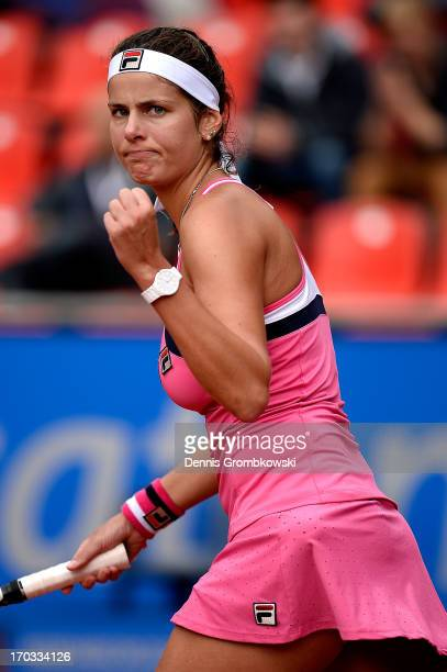 Julia Goerges of Germany celebrates after her first round match against Alexandra Cadantu of Romania during day four of the Nuernberger Insurance Cup...