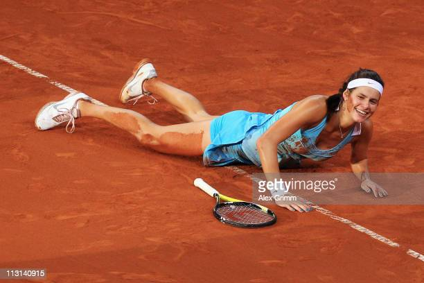 Julia Goerges of Germany celebrates after winning her Final match against Caroline Wozniacki of Denmark at the Porsche Tennis Grand Prix at Porsche...
