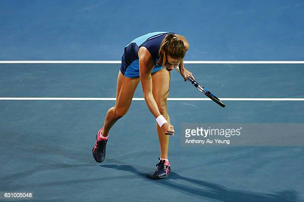 Julia Goerges of Germany celebrates after winning her quarter final match against Caroline Wozniacki of Denmark on day four of the ASB Classic on...