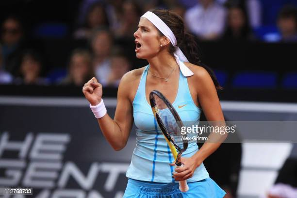Julia Goerges of Germany celebrates during her Quarter Final match against Sabine Lisicki of Germany at the Porsche Tennis Grand Prix at Porsche...