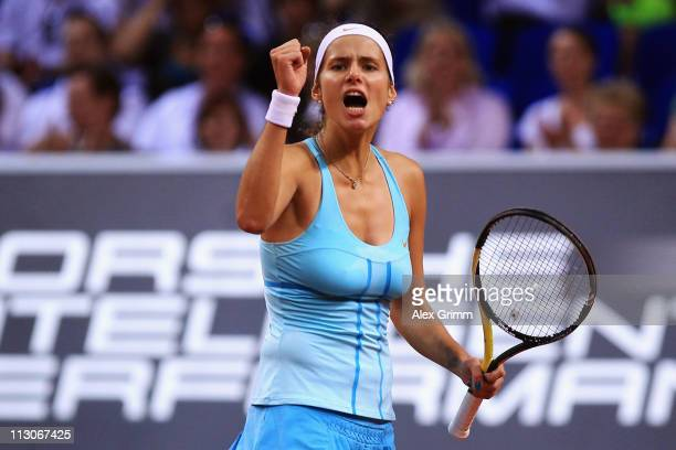 Julia Goerges of Germany celebrates during her Semi Final match against Samantha Stosur of Australia at the Porsche Tennis Grand Prix at Porsche...