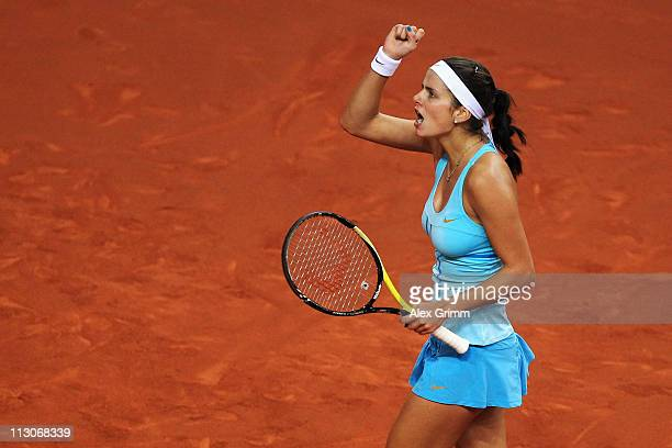 Julia Goerges of Germany celebrates during her Semi Final match against Samantha Stosur of Australia at the Porsche Tennis Grand Prix at Porsche...