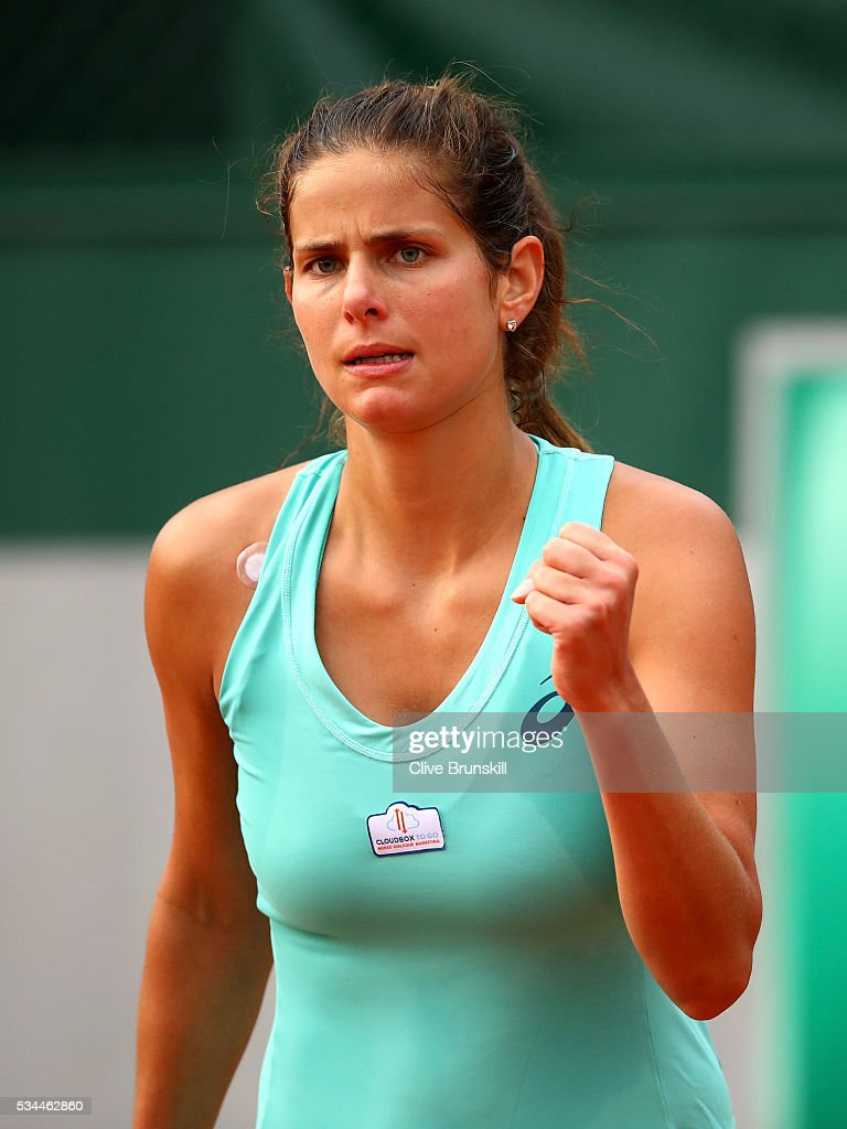 <a gi-track='captionPersonalityLinkClicked' href=/galleries/search?phrase=Julia+Goerges&family=editorial&specificpeople=4474037 ng-click='$event.stopPropagation()'>Julia Goerges</a> of Germany celebrates during the Ladies Singles second round match against Monica Puig of Puerto Rica on day five of the 2016 French Open at Roland Garros on May 26, 2016 in Paris, France.