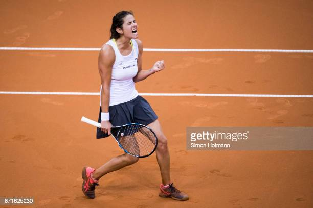 Julia Goerges of Germany celebrates victory against Lesia Tsurenko of Ukraine during the FedCup World Group PlayOff match between Germany and Ukraine...
