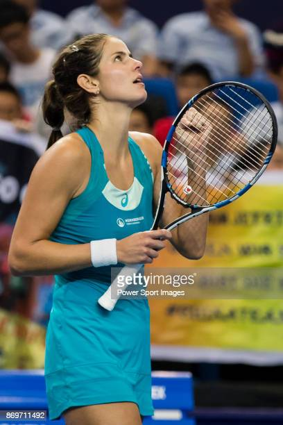 Julia Goerges of Germany celebrates winning the singles Round Robin match of the WTA Elite Trophy Zhuhai 2017 against Kristina Mladenovic of France...