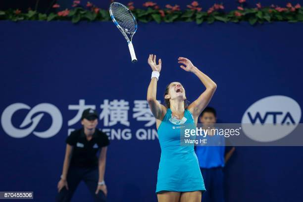 Julia Goerges of Germany celebrates winning the Women's Singles Final match against Coco Vandeweghe of USA during the WTA Elite Trophy Zhuhai 2017 at...