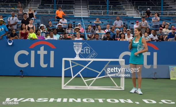 Julia Goerges of Germany competes with Ekaterina Makarova of Russia at William HG FitzGerald Tennis Center on August 6 2017 in Washington DC