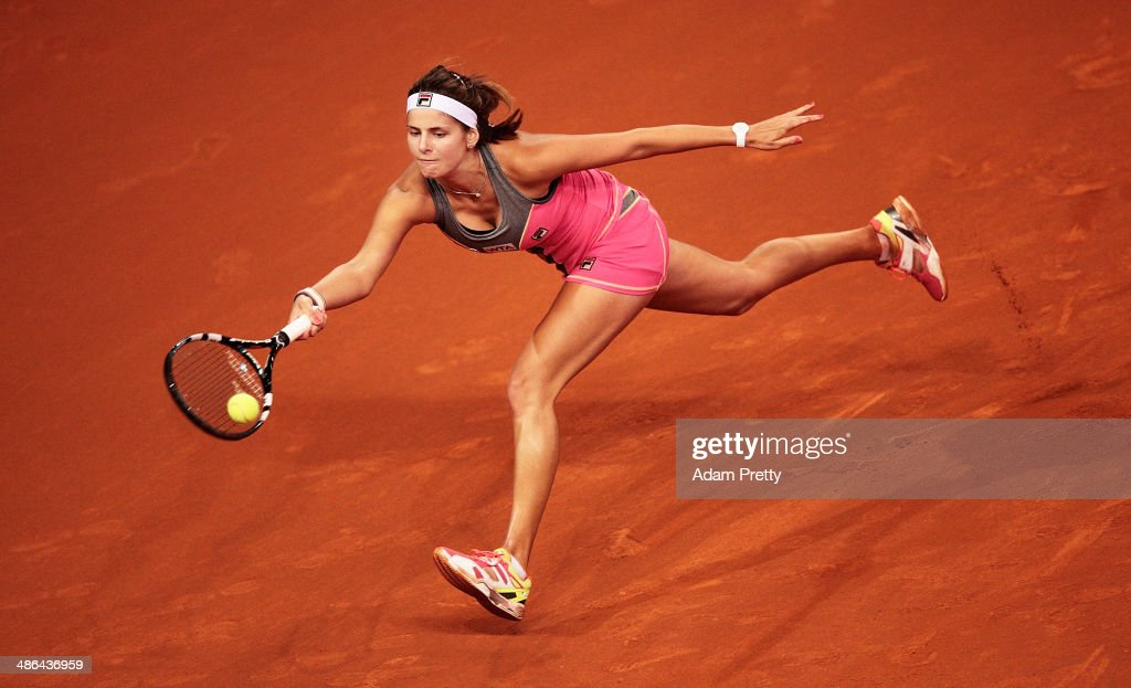 <a gi-track='captionPersonalityLinkClicked' href=/galleries/search?phrase=Julia+Goerges&family=editorial&specificpeople=4474037 ng-click='$event.stopPropagation()'>Julia Goerges</a> of Germany hits a forehand during her match against Anna Ivanovic of Serbia on day four of the Porsche Tennis Grand Prix 2014 at Porsche Arena on April 24, 2014 in Stuttgart, Germany.