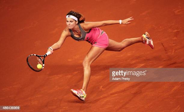 Julia Goerges of Germany hits a forehand during her match against Anna Ivanovic of Serbia on day four of the Porsche Tennis Grand Prix 2014 at...