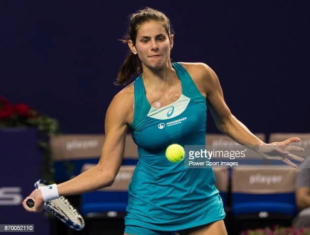 Julia Goerges of Germany hits a return during the singles semi final match of the WTA Elite Trophy Zhuhai 2017 against Anastasija Sevastova of Latvia...