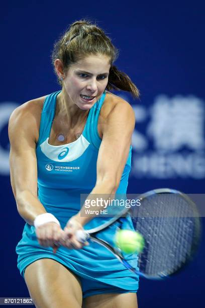 Julia Goerges of Germany hits a return in her Semi final match against Anastasija Sevastova of Latvia during the WTA Elite Trophy Zhuhai 2017 at...
