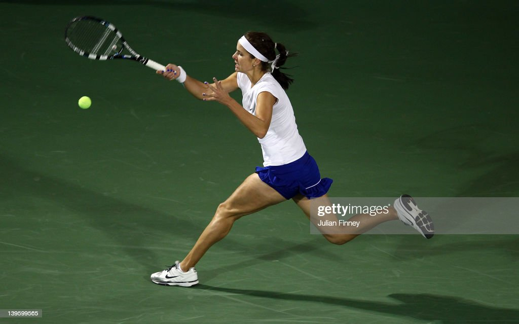 <a gi-track='captionPersonalityLinkClicked' href=/galleries/search?phrase=Julia+Goerges&family=editorial&specificpeople=4474037 ng-click='$event.stopPropagation()'>Julia Goerges</a> of Germany in action against Daniela Hantuchova of Slovakia during day four of the WTA Dubai Duty Free Tennis Championship on February 23, 2012 in Dubai, United Arab Emirates.