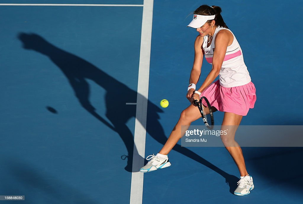 Julia Goerges of Germany plays a backhand in her first round match against Anastasija Sevastova of Latvia during day two of the 2013 ASB Classic on January 1, 2013 in Auckland, New Zealand.