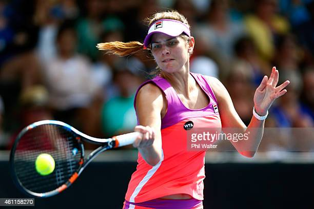 Julia Goerges of Germany plays a forehand in her quarter final match against Caroline Wozniacki of Denmark during day four of the 2015 ASB Classic at...