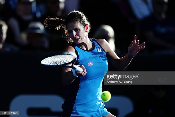 Julia Goerges of Germany plays a forehand in her quarter final match against Caroline Wozniacki of Denmark on day four of the ASB Classic on January...