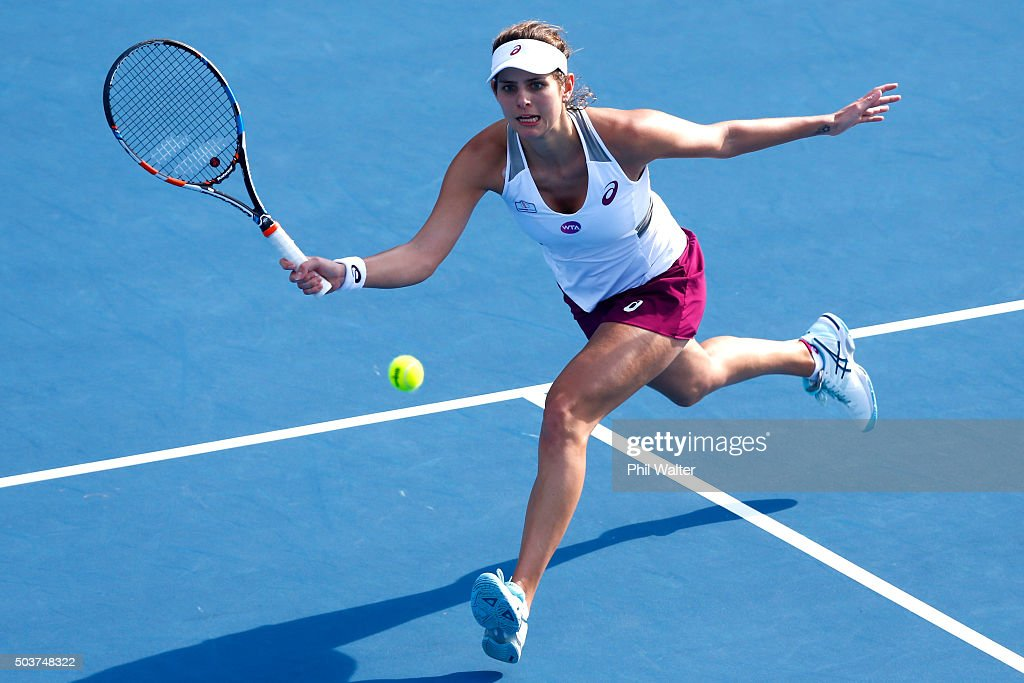 <a gi-track='captionPersonalityLinkClicked' href=/galleries/search?phrase=Julia+Goerges&family=editorial&specificpeople=4474037 ng-click='$event.stopPropagation()'>Julia Goerges</a> of Germany plays a forehand in her singles match against Nao Hibino of Japan during day four of the 2016 ASB Classic at ASB Tennis Arena on January 7, 2016 in Auckland, New Zealand.