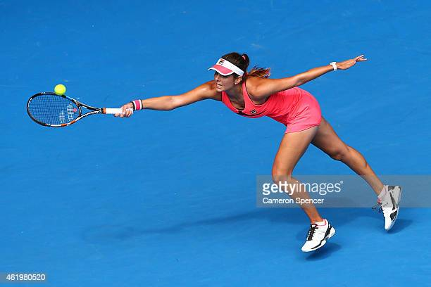 Julia Goerges of Germany plays a forehand in her third round match against Lucie Hradecka of the Czech Republic during day five of the 2015...