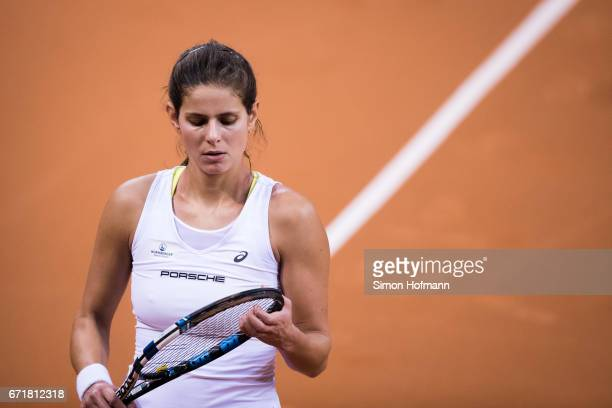 Julia Goerges of Germany reacts after missing a point against Lesia Tsurenko of Ukraine during the FedCup World Group PlayOff match between Germany...