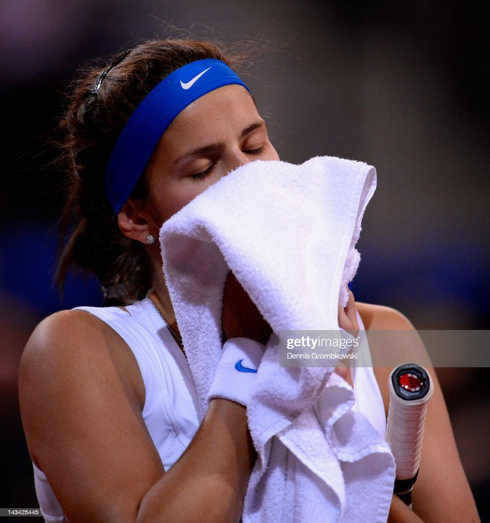 <a gi-track='captionPersonalityLinkClicked' href=/galleries/search?phrase=Julia+Goerges&family=editorial&specificpeople=4474037 ng-click='$event.stopPropagation()'>Julia Goerges</a> of Germany reacts during her match against Samantha Stosur of Australia during day four of the WTA Porsche Tennis Grand Prix at Porsche Arena on April 26, 2012 in Stuttgart, Germany.