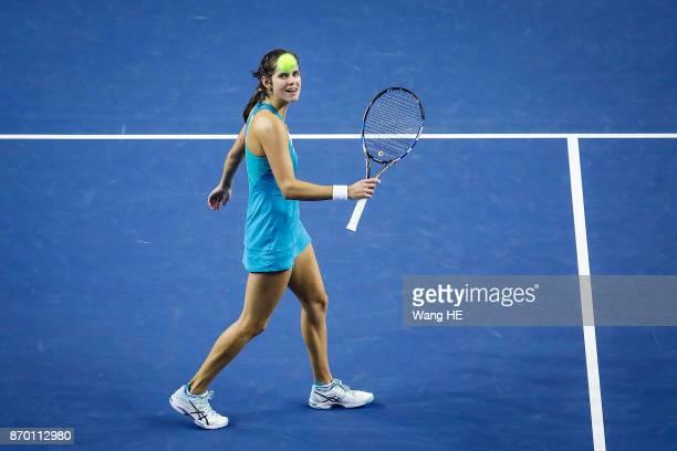Julia Goerges of Germany reacts in her Semi final match against Anastasija Sevastova of Latvia during the WTA Elite Trophy Zhuhai 2017 at Hengqin...