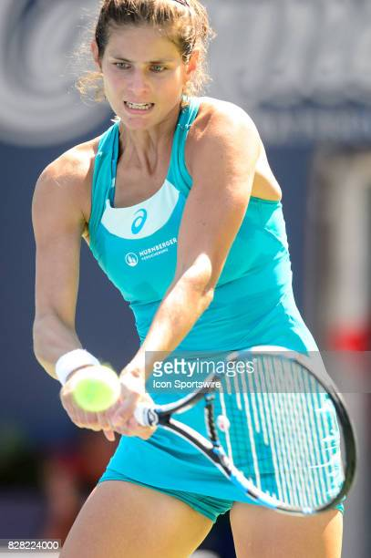 Julia Goerges of Germany returns the ball during her first round match of the 2017 Rogers Cup tennis tournament on August 8 at Aviva Centre in...