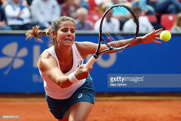 Julia Goerges of Germany returns the ball to Kiki Bertens of Netherlands during day seven of the Nuernberger Versicherungscup 2016 on May 20 2016 in...