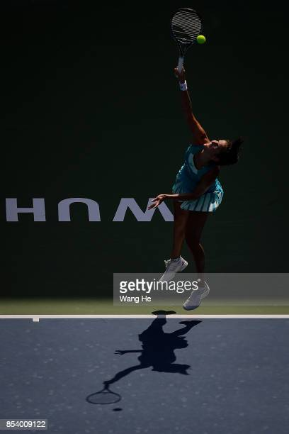 Julia Goerges of Germany serves against Agnieszka Redwanska of Poland on Day 3 of 2017 Dongfeng Motor Wuhan Open at Optics Valley International...