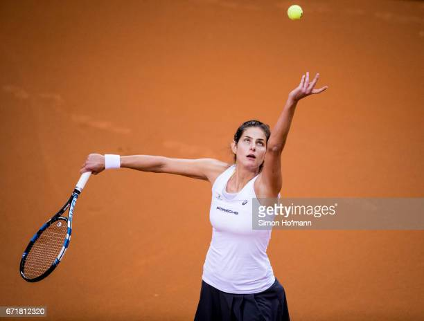Julia Goerges of Germany serves against Lesia Tsurenko of Ukraine during the FedCup World Group PlayOff match between Germany and Ukraine at Porsche...