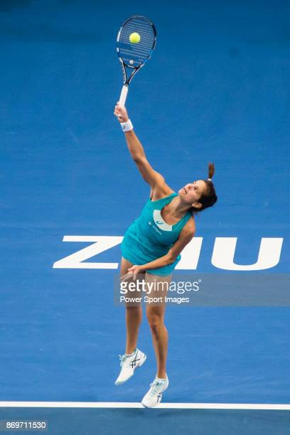 Julia Goerges of Germany serves during the singles Round Robin match of the WTA Elite Trophy Zhuhai 2017 against Kristina Mladenovic of France at...