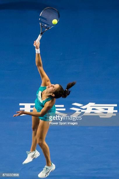 Julia Goerges of Germany serves during the singles semi final match of the WTA Elite Trophy Zhuhai 2017 against Anastasija Sevastova of Latvia at...