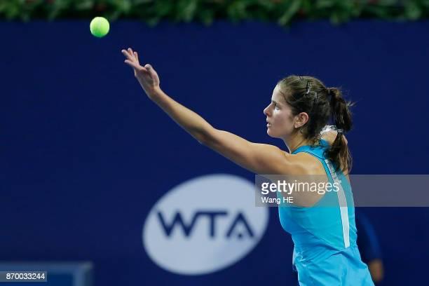 Julia Goerges of Germany serves in her Semi final match against Anastasija Sevastova of Latvia during the WTA Elite Trophy Zhuhai 2017 at Hengqin...