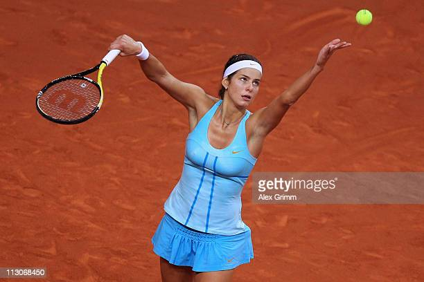 Julia Goerges of Germany serves the ball to Samantha Stosur of Australia during their Semi Final match at the Porsche Tennis Grand Prix at Porsche...