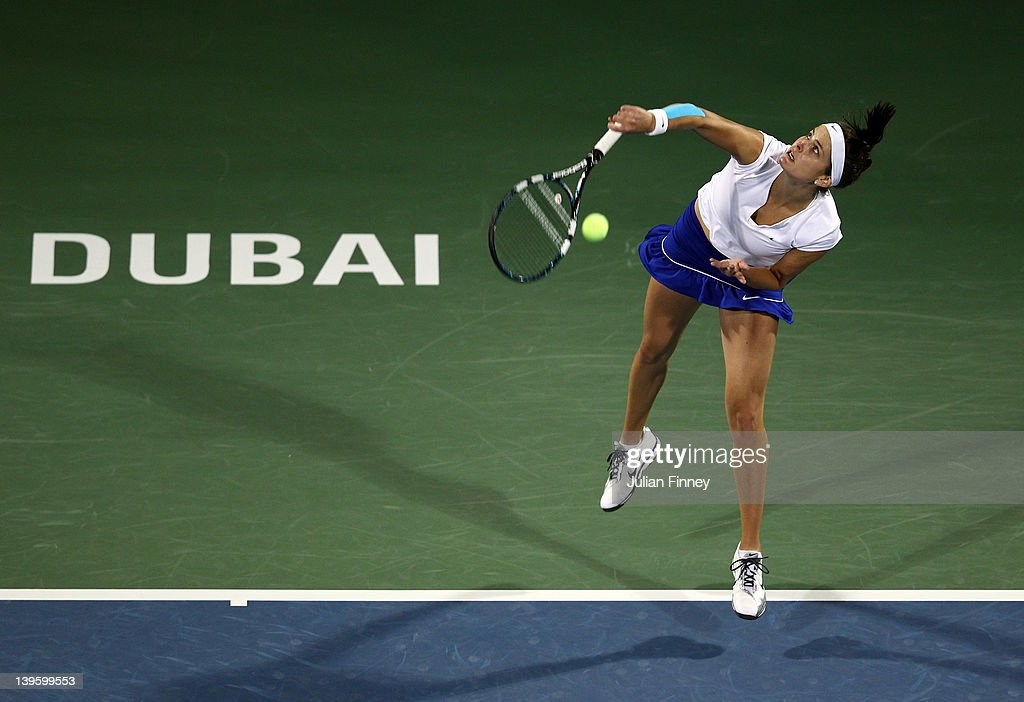 <a gi-track='captionPersonalityLinkClicked' href=/galleries/search?phrase=Julia+Goerges&family=editorial&specificpeople=4474037 ng-click='$event.stopPropagation()'>Julia Goerges</a> of Germany serves to Daniela Hantuchova of Slovakia during day four of the WTA Dubai Duty Free Tennis Championship on February 23, 2012 in Dubai, United Arab Emirates.