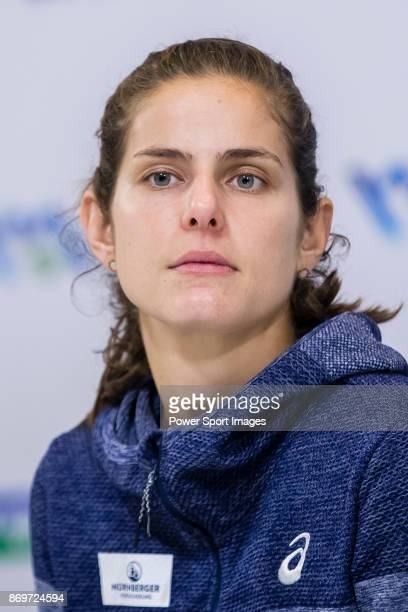 Julia Goerges of Germany talks to media during post match press conference after winning the singles Round Robin match of the WTA Elite Trophy Zhuhai...